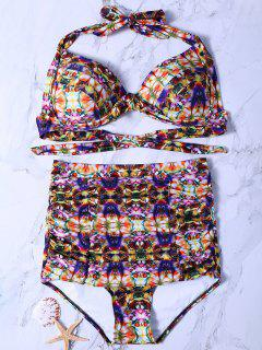 Abstract Print High Waisted Bikini Set - M