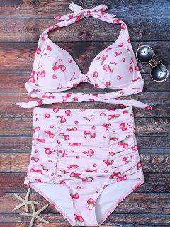 Strawberry High Waisted Bikini Set - Pink M