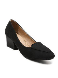 Suede Chunky Heel Pumps - Black 37