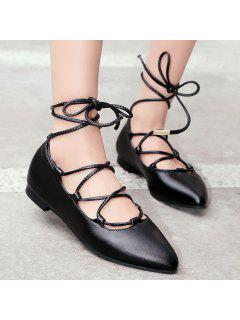 Tie Up Pointed Toe Flat Shoes - Black 37
