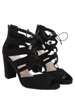 Lace Up Peep Toe Sandals - Black 39