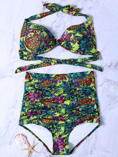 Planta De Impresión De Talle Alto Set Bikini - Verde M
