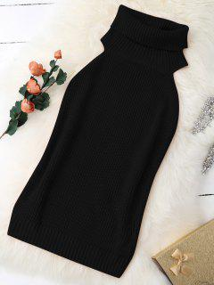 Turtle Neck Vest Chunky Sweater - Black