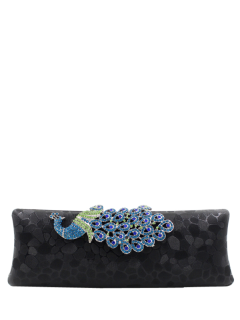Peacock Satin Evening Bag - Black