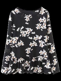 Ruffle Hem Floral Oversized Blouse - Black S
