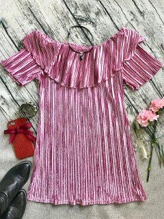 Ruffle Pleated Velvet Off Shoulder Dress - Pink L