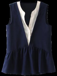 Acodado Sin Mangas De La Blusa Con Falda Plunge - Azul Purpúreo S