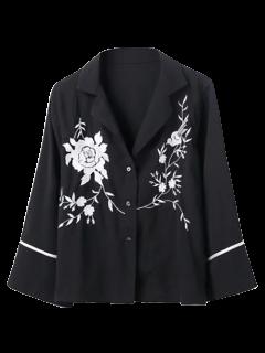 Chemise Pyjama Brodée - Noir L