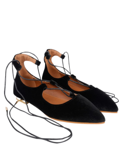 Suede Pointed Toe Flats - Black 40