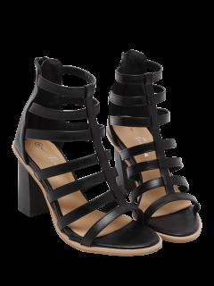 Gladiator Chunky Heel Strappy Sandals - Black 39