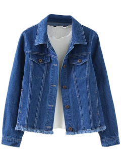 Jacket En Denim Avec Coupures Boutonnées - Bleu S