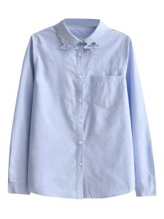 Pentagram Embroidered Pocket Shirt - Light Blue S