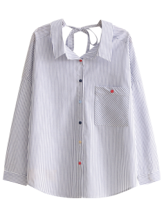 Tie Back Pocket Striped Shirt - Stripe M