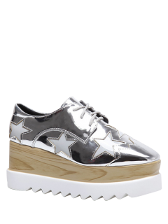 Star Tie Up Platform Shoes - Silver 40