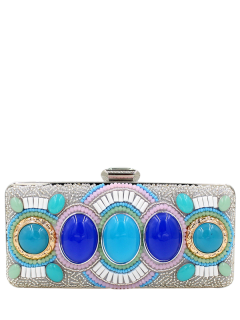 Faux Gems Beaded Minaudiere - Silver