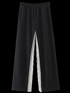 Striped Elastic Waist Wide Leg Pants - Black M