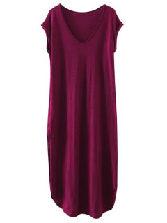 Maxi Robe Taille Grande - Violacé Rouge S