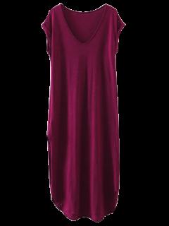 Oversized Shift Maxi Dress - Purplish Red M