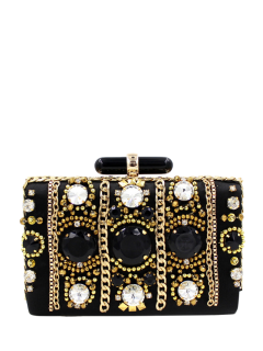 Beaded Rhinestone Evening Bag - Black