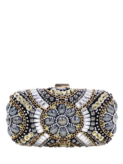 Chains Beaded Satin Evening Bag - Black