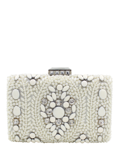 Metal Trim Beaded Evening Bag - White