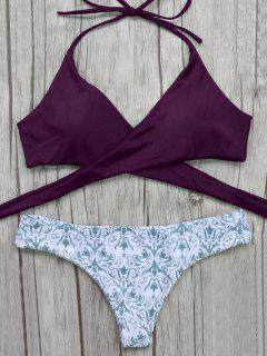 Wrap Bikini Top And Baroque Bottoms - Burgundy S