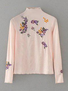 Floral Embroidered Mesh Sheer Tee - Pink M