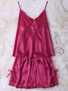 Lace Insert Tank Top And Slik Shorts - Red Xl
