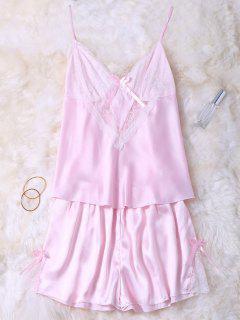 Lace Insert Tank Top And Slik Shorts - Pink Xl