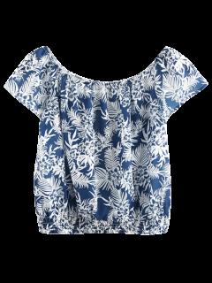 Top Coupé Court à Motif  Floral à Encolure Dégagée - Bleu Cadette S