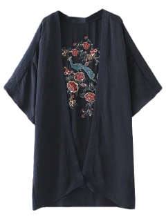 Peacock Flowers Embroidery Kimono - Purplish Blue L