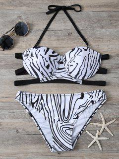Zebra Print Underwire Bikini - White And Black L