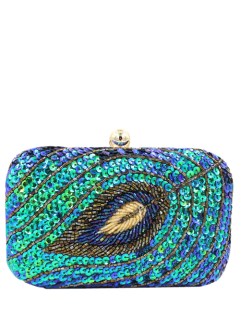 Leaf Pattern Sequins Evening Bag - Green Blue