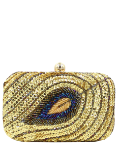 Leaf Pattern Sequins Evening Bag - Golden