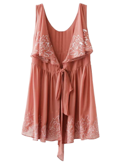 Embroidered Sleeveless Robe Dress - Laterite M