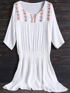 Embroidered Beach Dress - White