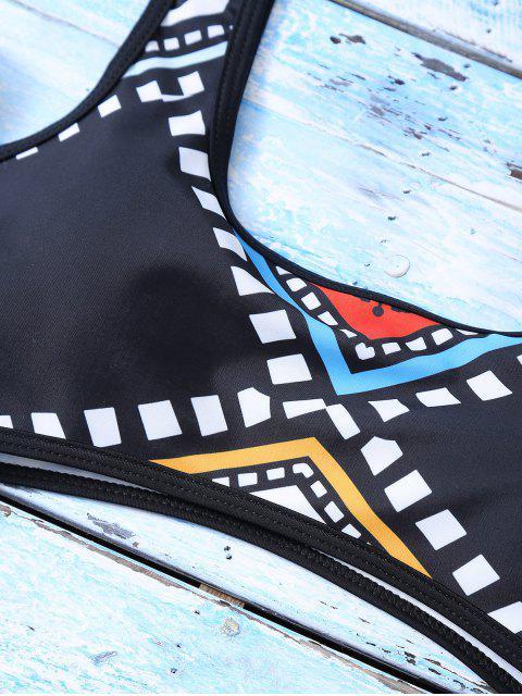 online Geometric Thong One-Piece Swimwear - BLACK S Mobile