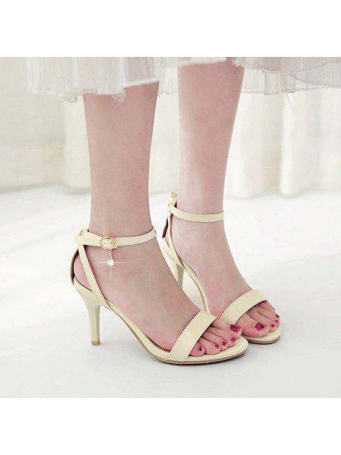 women's Rhinestone Ankle Strap Sandals - BEIGE 38 Mobile