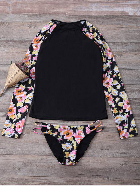 lady Floral Long Sleeve Top and Briefs Set - COLORMIX M Mobile