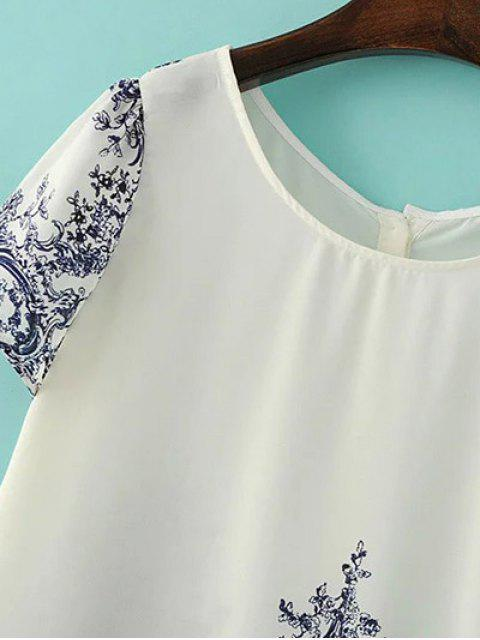 online Blue and White Porcelain Back Button Top - OFF-WHITE S Mobile