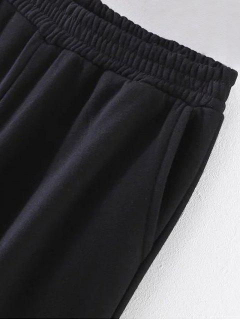 online Striped Elastic Waist Wide Leg Pants - BLACK L Mobile