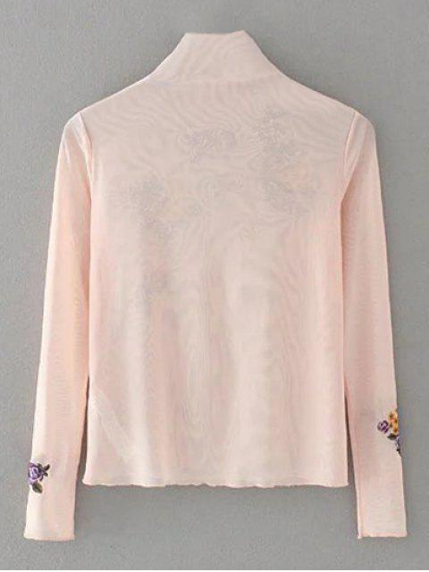 sale Floral Embroidered Mesh Sheer Tee - PINK S Mobile