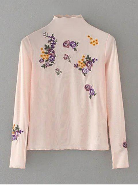 fancy Floral Embroidered Mesh Sheer Tee - PINK L Mobile