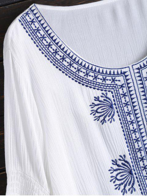 ladies Tunic Embroidered Cover Up - WHITE ONE SIZE Mobile