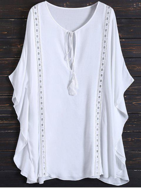 lady Fringed Cut Out Cover Up - WHITE ONE SIZE Mobile