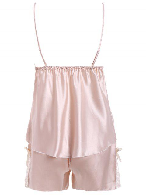 chic Lace Insert Tank Top and Slik Shorts - CHAMPAGNE M Mobile