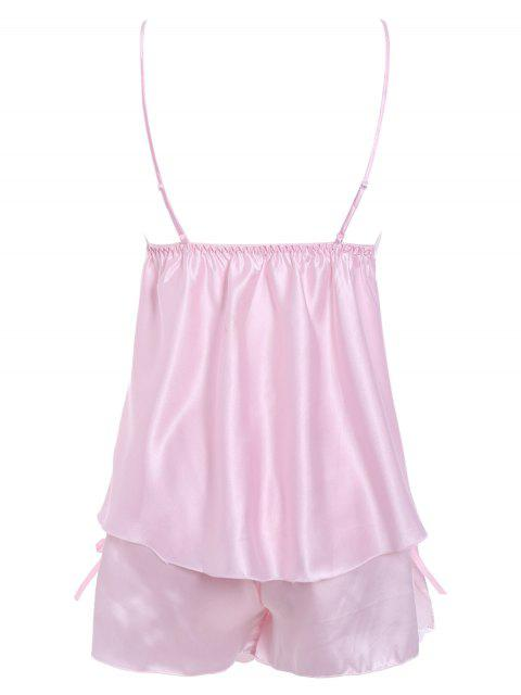 shop Lace Insert Tank Top and Slik Shorts - PINK M Mobile