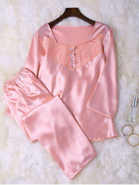 pyjama haut dentelle en fausse soie et pantalons rose. Black Bedroom Furniture Sets. Home Design Ideas