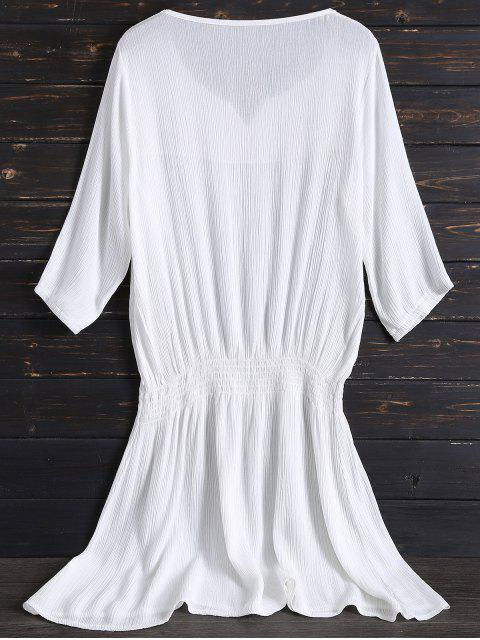 hot Embroidered Beach Dress - WHITE ONE SIZE Mobile