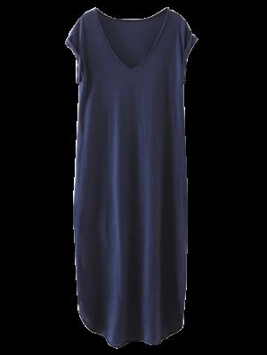 Maxi Vestido Recto En Talla Extra - Azul Purpúreo S